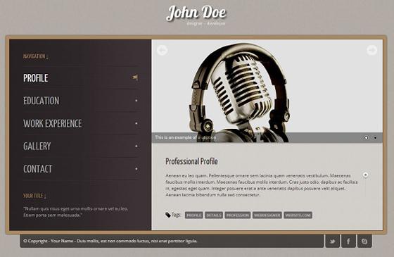 Vintage vCard Resume Template (HTML)