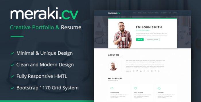 Meraki CV HTML Template - HTML Website