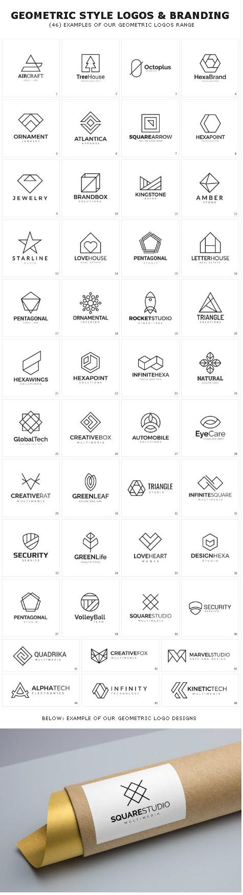 geometric style logo designs & branding
