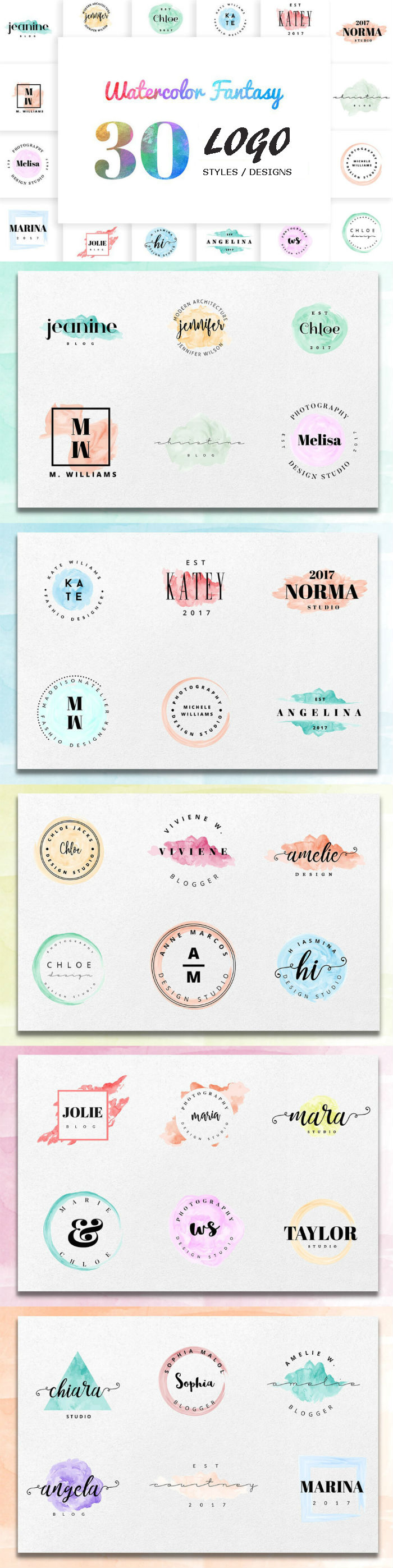Watercolor Logo Designs - IsikChick Style